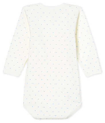 Body manica lunga bebè maschietto bianco Marshmallow / blu Acier
