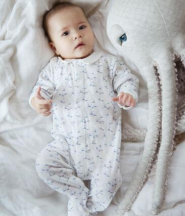 Tutina bebè maschio in tubique bianco Marshmallow / bianco Multico