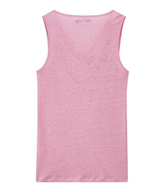 Top donna in lino iridescente rosa Babylone / grigio Argent