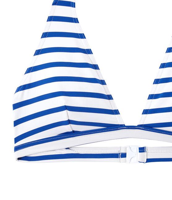 Costume da bagno 2 pezzi donna a righe bianco Marshmallow / blu Perse