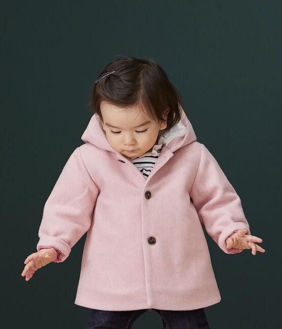 Cappotto bebè femmina in panno di lana rosa Cheek / bianco Marshmallow