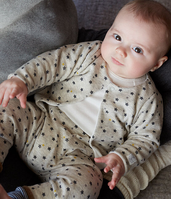 Completo tre pezzi bebè maschio in lana e cotone beige Montelimar / bianco Multico