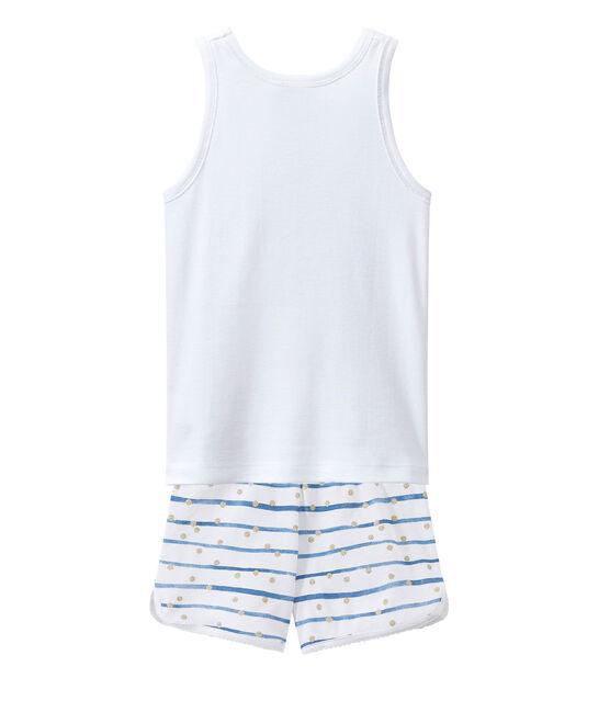 Pigiama corto bianco Ecume / blu Bleu