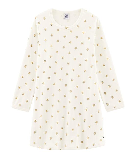 Camicia da notte con stelle bambina a costine bianco Marshmallow / giallo Or