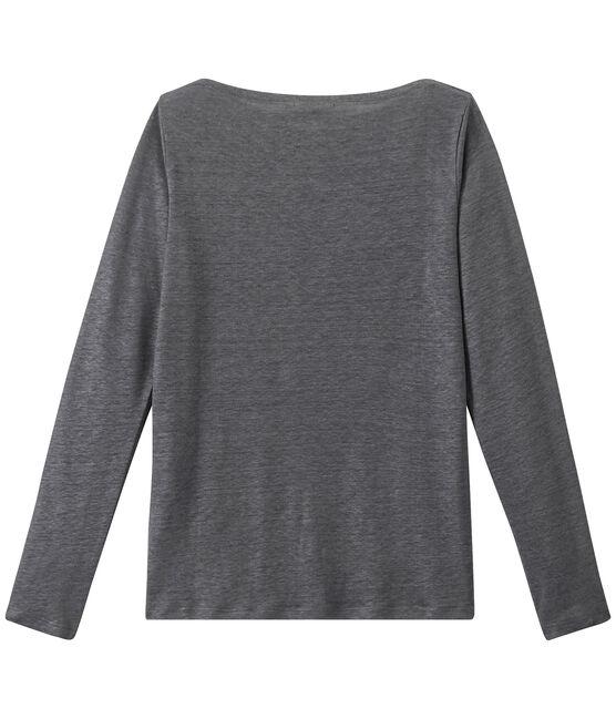 T-shirt donna a maniche lunghe in lino iridescente grigio Maki / grigio Argent