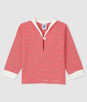 T-shirt millerighe bebè maschio rosso Terkuit / bianco Marshmallow