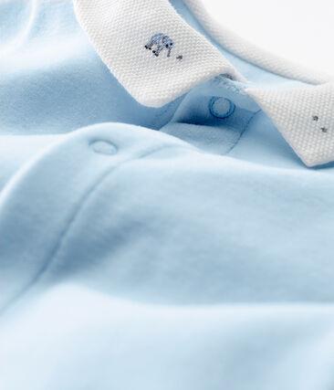 Tutina pigiama bebè maschietto in velluto di cotone tinta unita