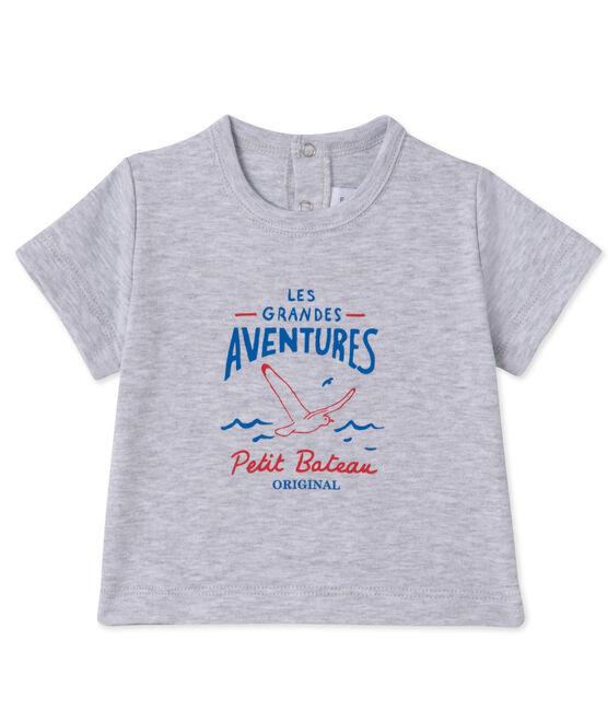 T-shirt per bebè maschio serigrafata grigio Poussiere Chine