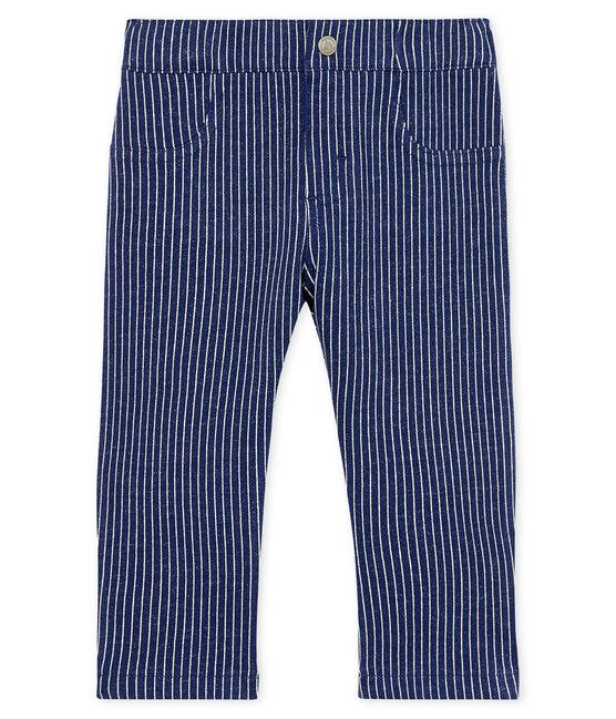 Pantalone maschietto in maglia a righe blu Smoking / bianco Marshmallow