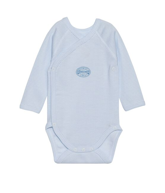 Body neonato maniche lunghe millerighe blu Fraicheur / bianco Ecume