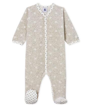 Tutina bebé maschio in ciniglia grigio Beluga / bianco Marshmallow