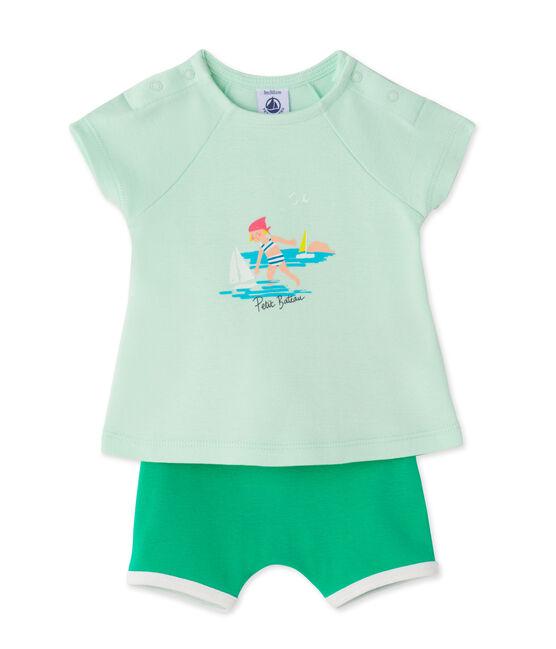 Coordinato per bebè femmina shorts e t-shirt verde Amandelium / verde Flag