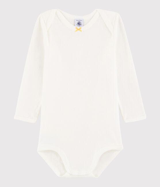 Body manica lunga bebè femmina bianco Marshmallow / giallo Ble