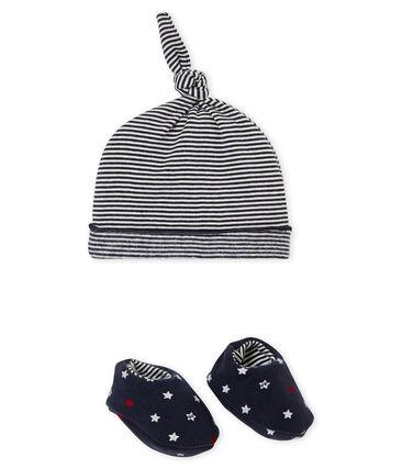 Lotto di cappellino e scarpine bebé maschio blu Smoking / bianco Multico