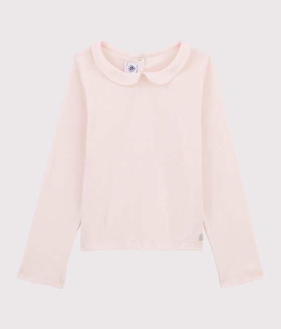 T-shirt maniche lunghe in cotone bambina rosa Fleur