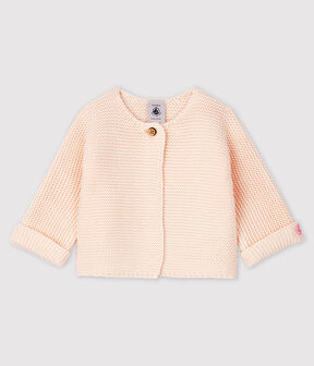 Cardigan bebè in tricot 100% cotone rosa Fleur