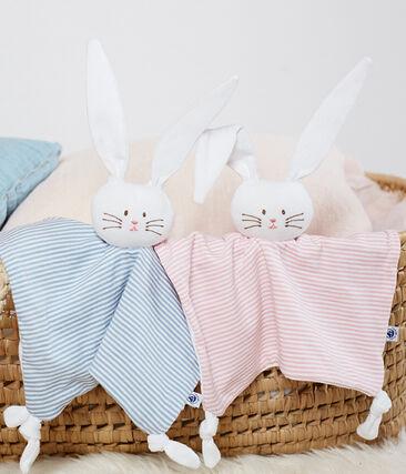 Doudou coniglietto bebè a costine rosa Charme / bianco Marshmallow