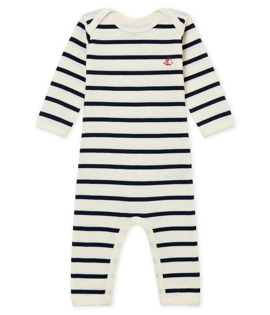 Body lungo in costina per neonati beige Coquille / blu Smoking