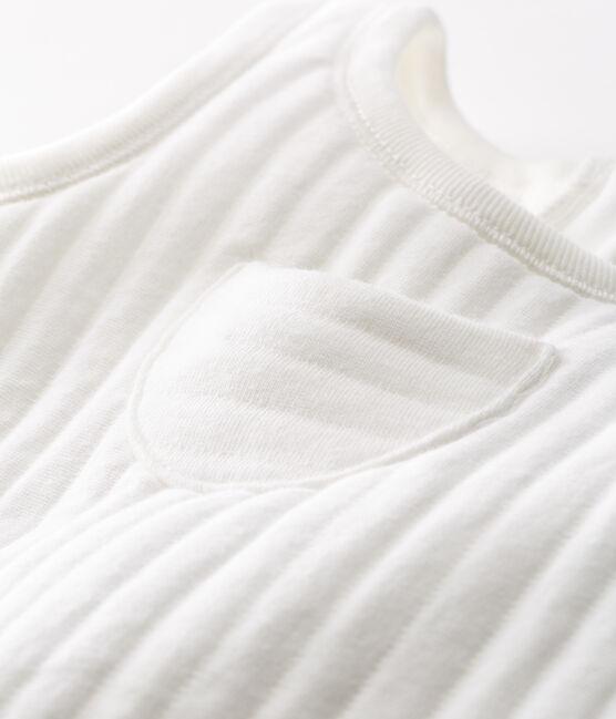 Salopette lunga bebè maschio in tubique trapuntato bianco Marshmallow