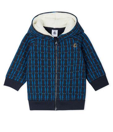 Felpa con cappuccio bebè maschio in molleton fantasia e doppiato in sherpa blu Smoking / bianco Multico
