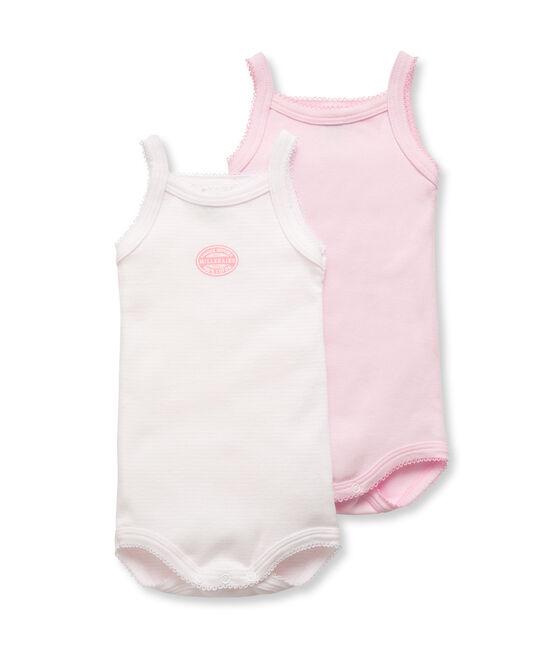 Confezione di 2 bodies con spalline bebé bambina tinta unita e millerighe lotto .