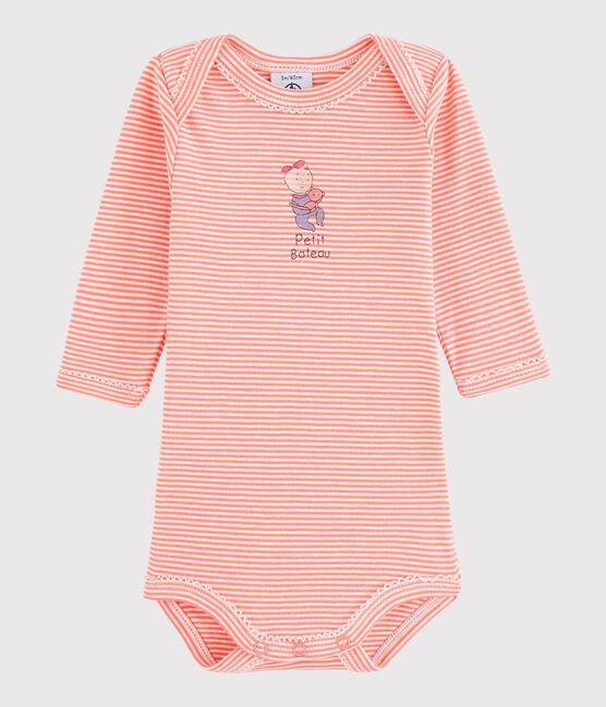 Body manica lunga bebè femmina rosa Peachy / bianco Lait