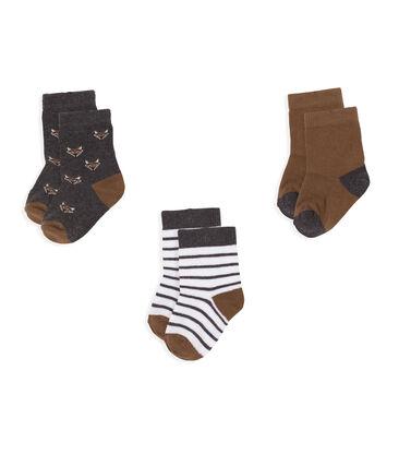 Confezione da 3 paia di calzini bebè maschio grigio City Chine