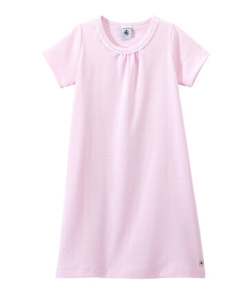 Camicia da notte bambina millerighe rosa Babylone / bianco Ecume