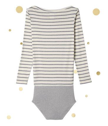 Body a maniche lunghe per donna. Petit bateau x Marie-Agnès Gillot beige Coquille / grigio Subway