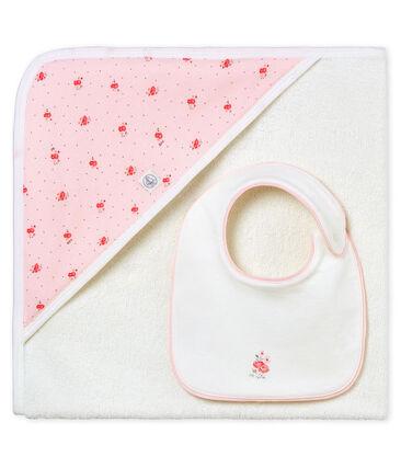 Cofanetto asciugamano quadrato da bagno e bavaglino bebè femmina