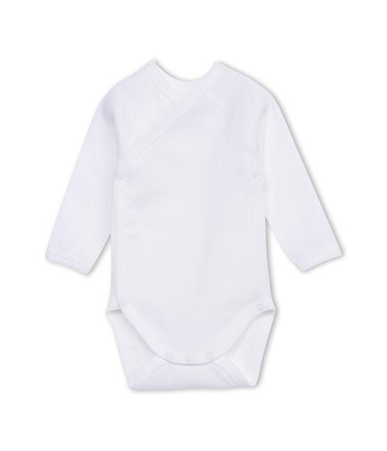 Body nascita unisex maniche lunghe tinta unita bianco Ecume