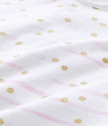 Tutina bebè bambina in tubique rigata bianco Ecume / rosa Rose
