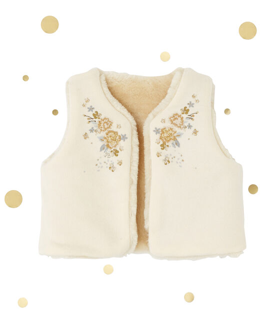 Gilet smanicato per bebé femmina reversibile beige Coquille
