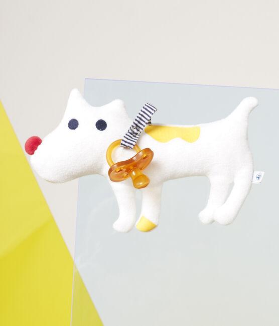 Doudou porta ciuccio bebé maschio in spugna bouclette bianco Marshmallow
