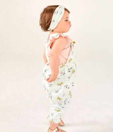 Salopette lunga in molleton da bebè femmina bianco Marshmallow / bianco Multico