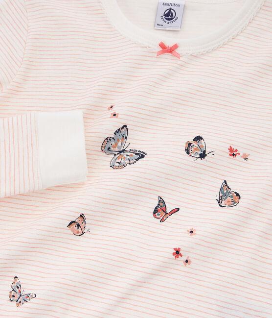Pigiama bambina a costine modello molto aderente bianco Marshmallow / rosa Rosako