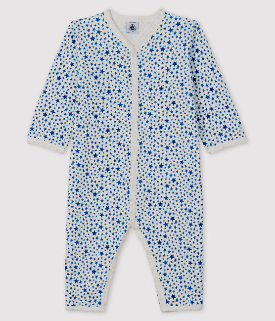 Tutina senza piedi a stelle blu bebè in tubique bianco Marshmallow / blu Major