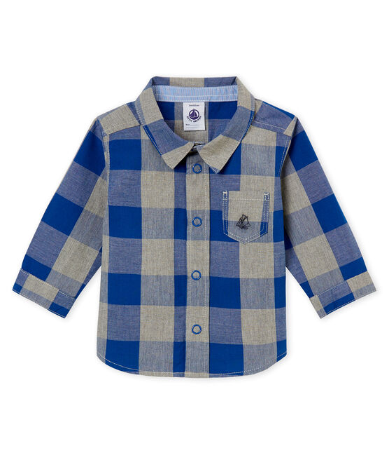 Camicia a quadretti per bebé maschio blu Limoges / bianco Multico