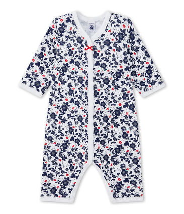 Tutina senza piedi bebè bambina in tubique stampata bianco Ecume / bianco Multico
