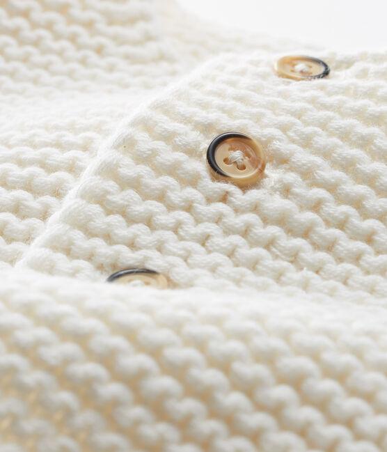 Cardigan in lana e cotone a punto legaccio bebè femmina bianco Marshmallow
