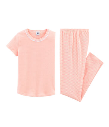 Pigiama manica corta bambina a costine rosa Rosako / bianco Marshmallow