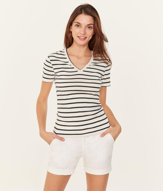 T-shirt maniche corte scollo a V donna bianco Marshmallow / blu Smoking