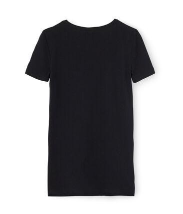 T-shirt maniche corte scollo a V donna nero Noir
