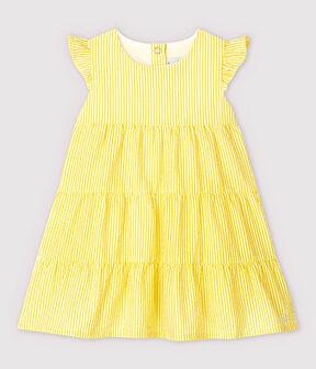 Abito a manica corta in seersucker a righe bebè femmina giallo Shine / bianco Marshmallow
