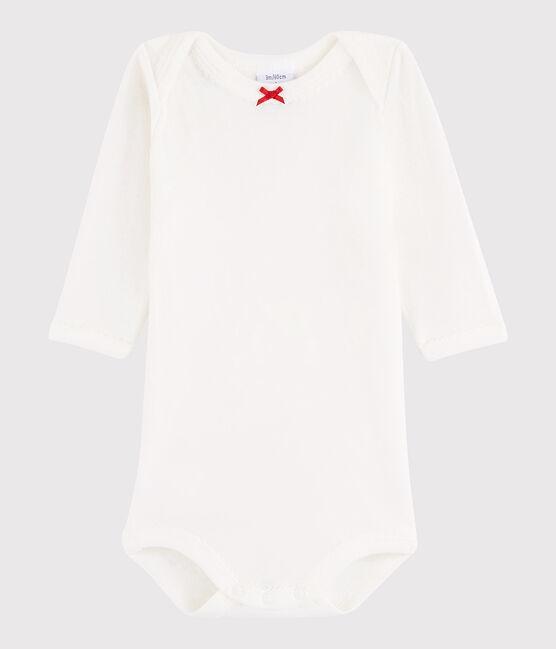 Body manica lunga bebè femmina bianco Marshmallow / rosso Terkuit