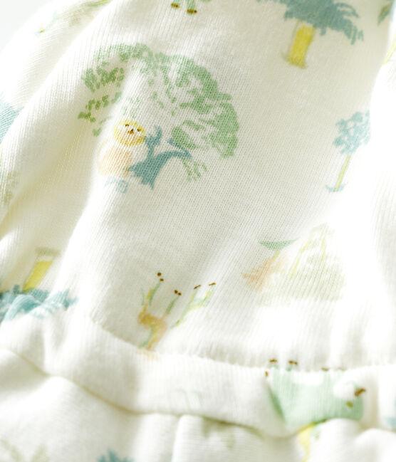 Cappello bebè a costine bianco Marshmallow/verde Amandier