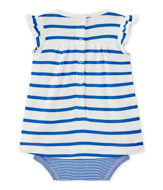 Abito body per bebé femmina rigato bianco Marshmallow / blu Perse