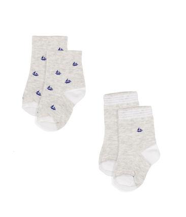 Confezione da 2 paia di calzini bebè maschio grigio Beluga