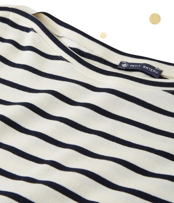 Body a maniche lunghe per donna. Petit bateau x Marie-Agnès Gillot beige Coquille / blu Smoking