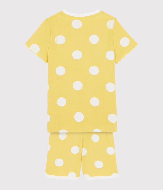 Pigiama bambino corto a pois a costine giallo Ble / bianco Ecume